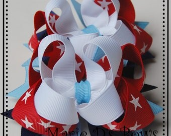 Stars and Stripes Forever Set of 2 Boutique Hair Bows Red White Blue Stars Independence Day