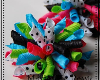 Rock On Mini Korkers Set of 2 Hair Bows Black Hot Pink Green Turquoise
