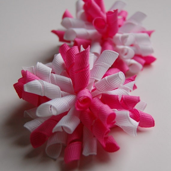 Pixie Pink and White Mini Korker Set of 2 Ribbon Hair Bow Clips