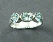 Aquamarine Three Stone Ring Sterling Silver Made to Order Free Shipping Worldwide