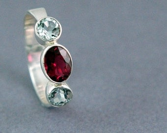 Pink Tourmaline and Aquamarine Three Stone Ring Sterling Silver Made to Order In Your Size Free Shipping Worldwide via Courier