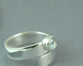 Aquamarine Wrap Ring Solid Sterling Silver Free Shipping Worldwide via Courier