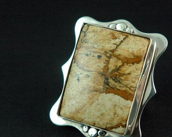 Owyhee Picture Jasper Sterling Silver Ring Solid Silver Ring One of a Kind Ring Unique Ring Free Shipping Worldwide via Courier
