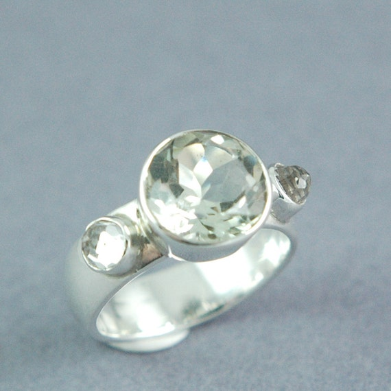 HALF PRICE SALE Green Amethyst White Topaz and Sterling Silver Ring