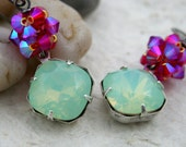 Chrysolite Opal and Pink Crystal Earrings