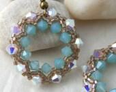 Opal and Sea Green Crystal Half-Wreath Earrings