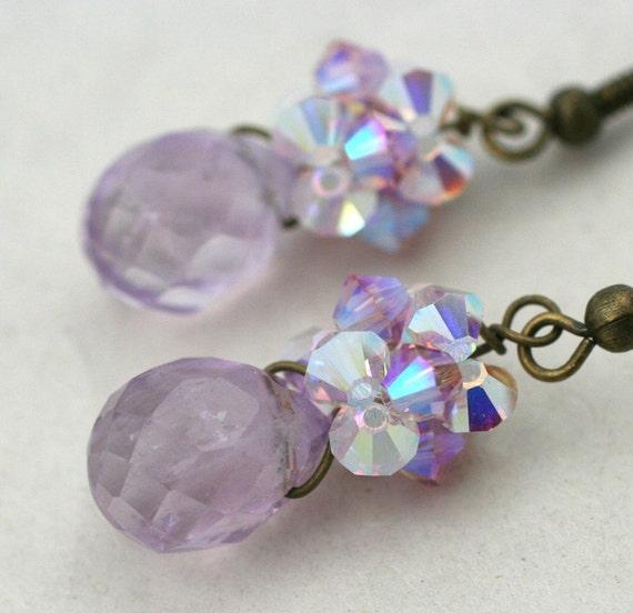 Lavender Amethyst  Crystal Earrings
