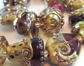 Gilded Plum Lampwork Bead Set