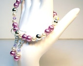 Classic Pearls Purple and White Swarovski Crystals Bracelet Set