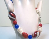 Patriotic US  Red White and Blue Bracelet & Earrings Set - lindab142