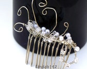 White Pearl and Swarovski Crystal Silver Wire Wrapped Wedding Comb - lindab142