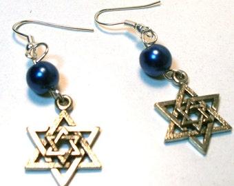 Star of David - Magen David - Jewish Star Earrings - Blue Pearl Lead Free