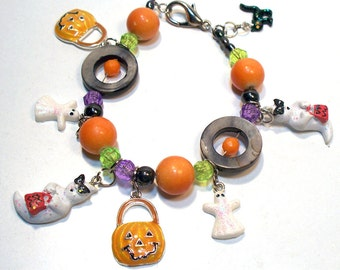Halloween Orange Pumpkins and White Ghost Charm Bracelet