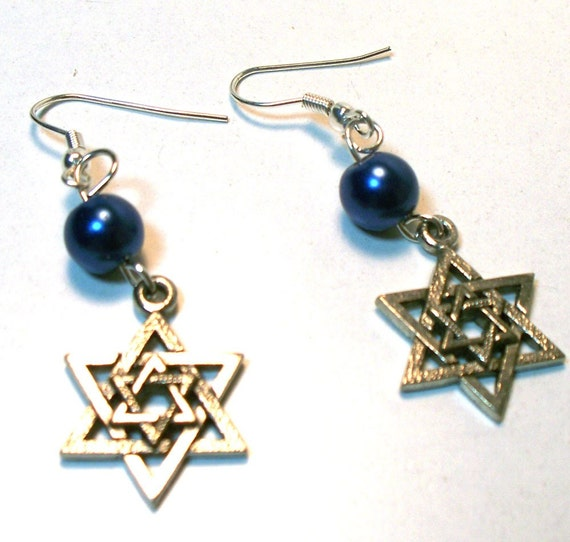 Jewish Star Earrings - Blue Pearl Lead Free