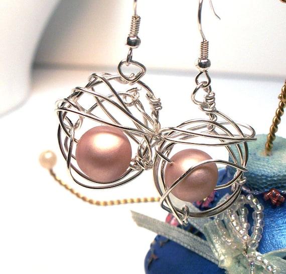Vintage Beige Pearls Orbit Wire Wrap Earrings