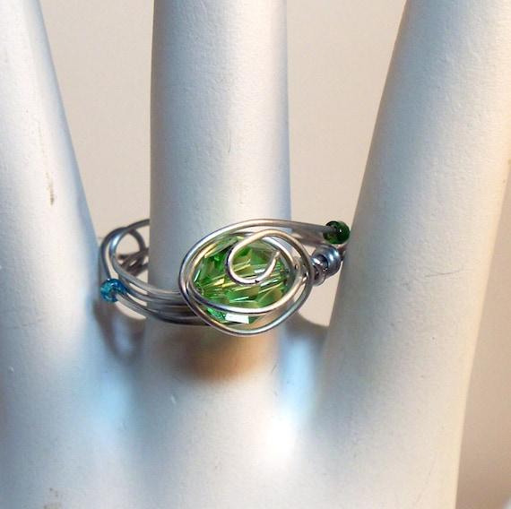 Swarovski Crystal Peridot Wire Wrapped Ring Size 9 - Ready to ship