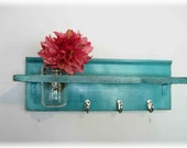 Beach Retro Mod Turquoise Color Primitive Shelf Silver Hooks