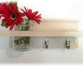 Wood Wall Shelf  Hooks Clean Soft Biege  Color Shabby  Chic Cottage