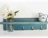 Primitive Country Robins Egg Blue Wood Coat Hooks Cottage Shabby Chic 3 Silver Hooks Wall Shelf