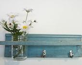 Primitive Country Robins Egg Blue FALL WOOD Coat Hooks Cottage Wall Shelf