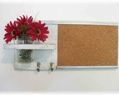 Wood Wall Shelf Cork Bulletin Board Message  Center Hooks Wedding Linen White