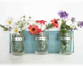 Spring Flowers Flowers, Flowers & Flowers. Mason Jars, Robin Eggs Blue Cottage Rustic Shelf