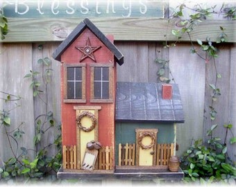 Primitive Double Folk Art Birdhouse