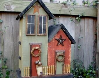 Primitive Folk Art Double Country Spring Farmhouse Garden Birdhouse