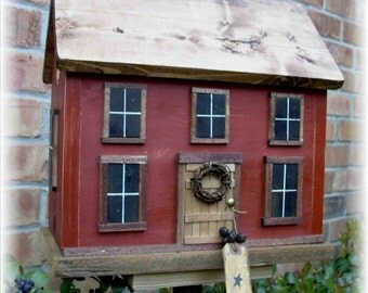 Folk Art Primitive Country Cottage Country Saltbox Birdhouse