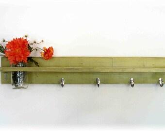 """Wood Wall Shelf  Hooks Funky Lime Green Color Shabby Chic Mason Jar 30"""" 4 Hooks"""