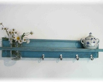 Wood Wall Shelf Mason Jar Robins Egg Blue Color Shabby Chic 30 Inches Long  4 Silver Hooks