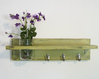 Primitive Country Funky Retro Lime Green FALL WOOD 3 Coat Hooks Cottage Wall Shelf