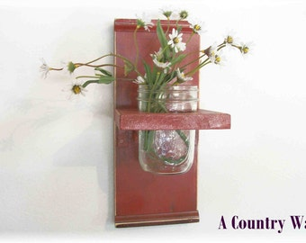 Primitive Wood Wall Shelf  Primitive Faded Barn Red Color  Shabby Chic Cottage