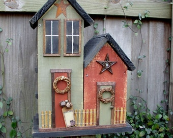 Primitive Folk Art Farmhouse Cottage Country Birdhouse