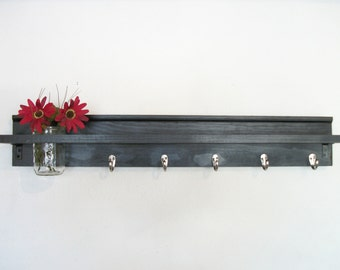 Wood Industrial Wall Shelf  5 Hooks Satin Black Color  Urban  Mason Jar 35 Inches Long