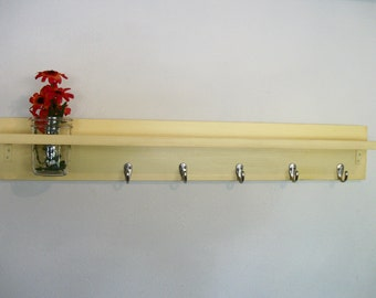 Wood Wall Shelf  Hooks Bold Buttery Yellow Color Cottage 5 Hooks