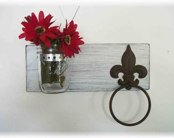 Wood Kitchen or Bathroom Wall Shelf  with Towel Ring  fleur de lis Shabby Chic