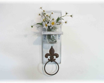 White Fleur de Lis towel hanger shelf flower mason jar shelf