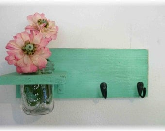 Wood Wall Shelf  Beach Retro Funky Wild Green Color Bathroom Kitchen Mason Jar Shabby Chic
