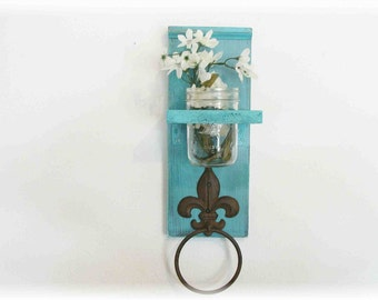 Kitchen or Bathroom Wall Shelf  with Fleur de lis Towel Ring  Retro Primitive Turquoise Color