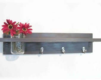 Primitive Country Dark Expresso Brown WOOD Coat Hooks Cottage Wall Shelf
