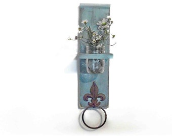 Wood Kitchen or Bathroom Wall Shelf with Towel Ring fleu de lis Robin Egg Blue