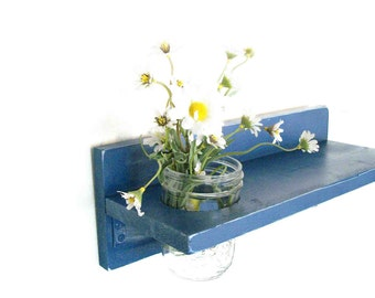 Navy Blue Nautical Rich Bold Color Shelf  Brushed Silver Hooks Mason Jar