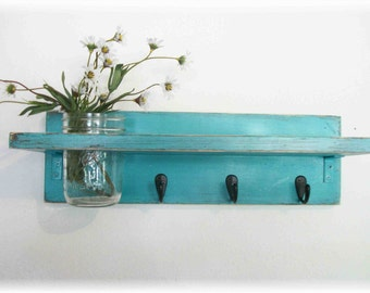 Beach Retro Mod Turquoise Color Primitive Shelf Black Hooks
