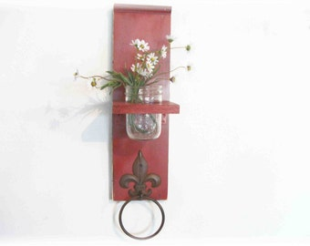 Wood Kitchen or Bathroom Wall Shelf  with Towel Ring  fleu de lis Primitive Barn Red Color Cottage Shabby Chic