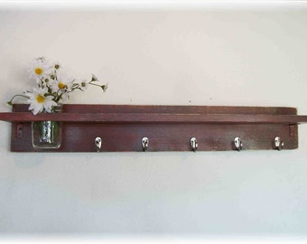 "Wood Wall Shelf  Country Primitive BARN RED Color 5 Hooks 35"" Long Shelf Mason Jar"