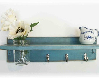 Primitive Country Robins Egg Blue Wood Coat Hooks Cottage Shabby Chic 3 Silver Hooks Wall Shelf