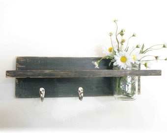 Primitive Country Flat Black  Wood Coat Hooks Cottage Wall Shelf