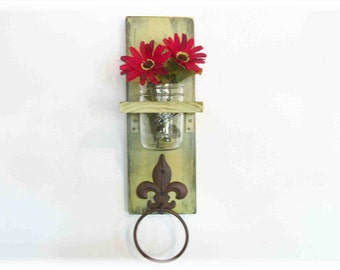 Wood Kitchen or Bathroom Wall Shelf  with Towel Ring  Mason Jar Olive Lime Green Retro fleur de lis