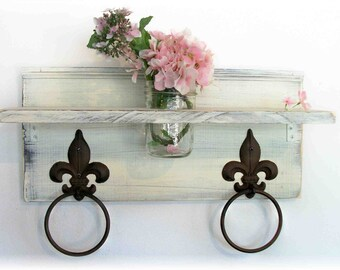 Shabby Chic Linen Ivory White Shabby n Chic  Bathroom or  Kitchen Fleur de Lis Towel Rings Shelf with Mason Jar